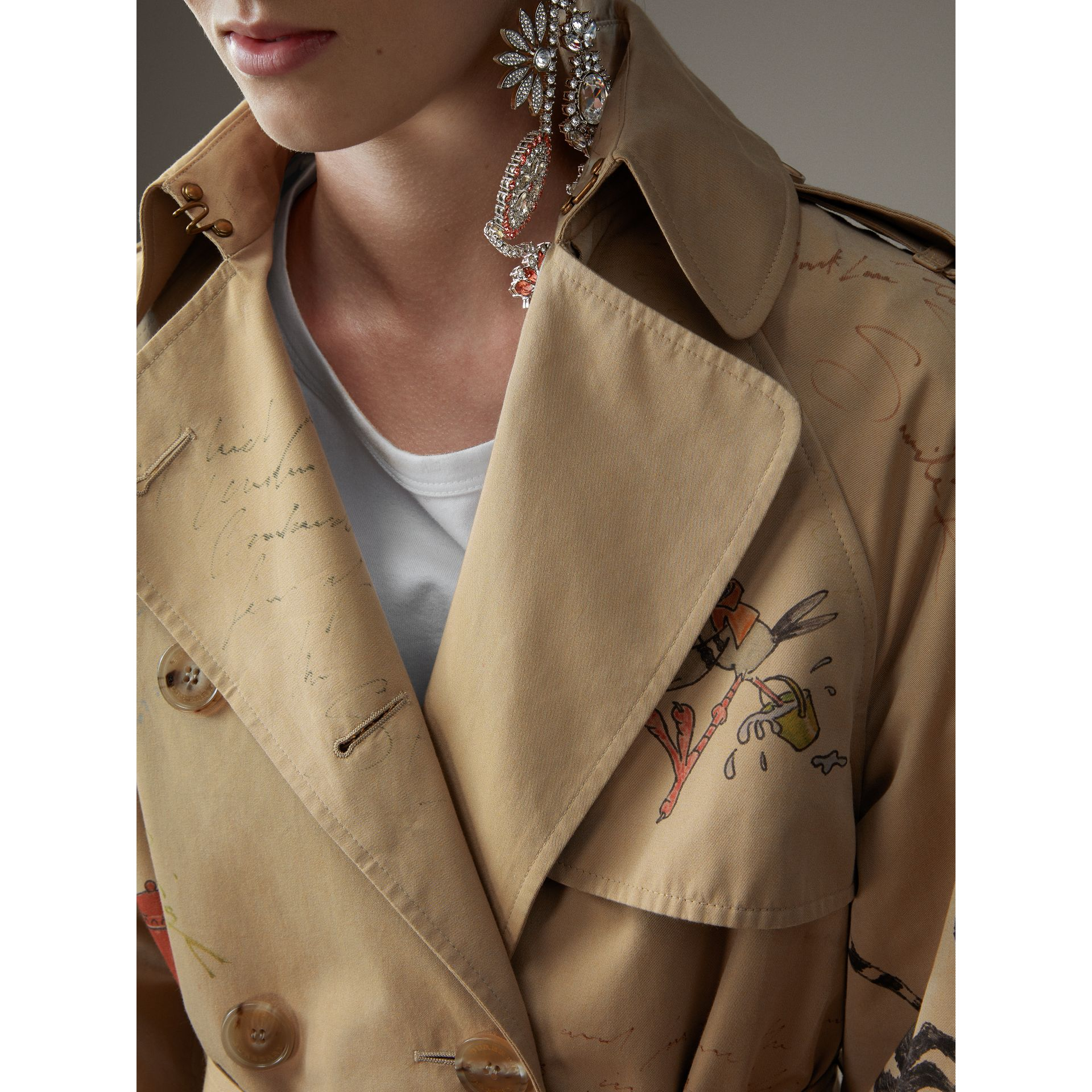 Sketch Print Tropical Gabardine Trench Coat in Honey - Women | Burberry - gallery image 5