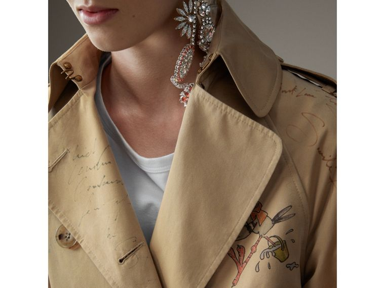 Sketch Print Tropical Gabardine Trench Coat in Honey - Women | Burberry - cell image 4