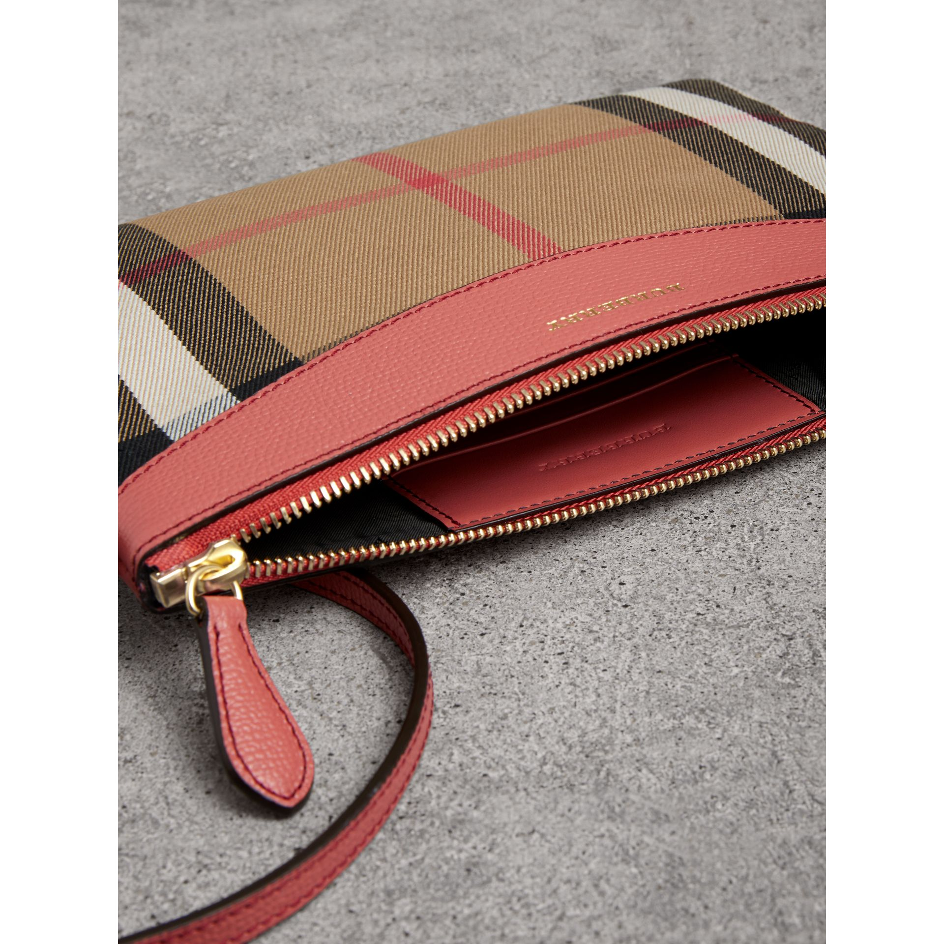 House Check and Leather Clutch Bag in Cinnamon Red - Women | Burberry Australia - gallery image 5