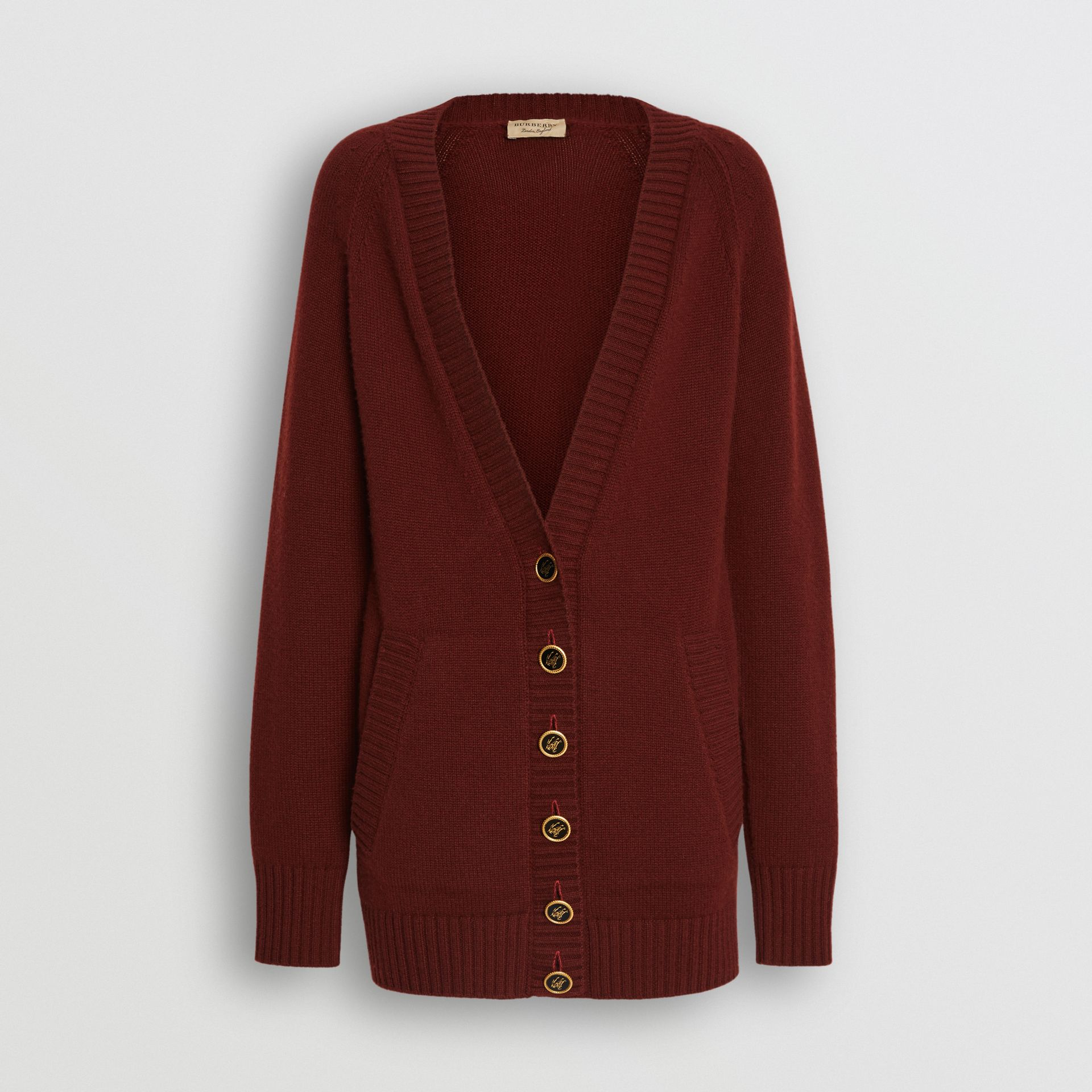 Logo Button Cashmere Cardigan in Dark Russet Brown - Women | Burberry Canada - gallery image 3