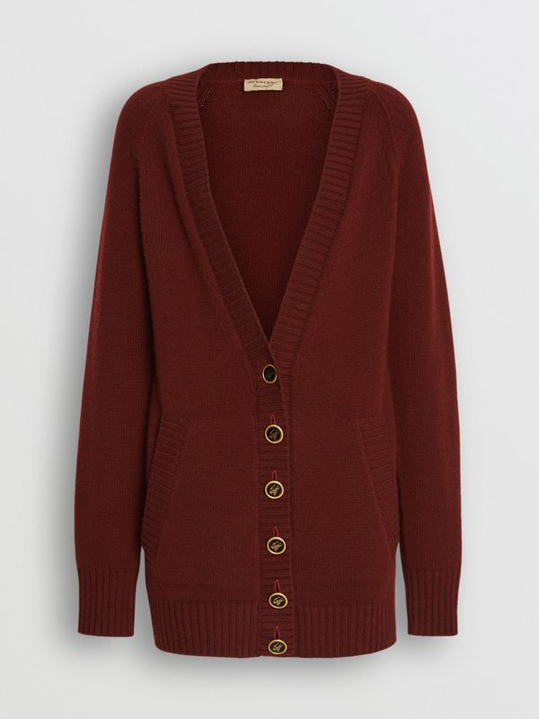 Logo Button Cashmere Cardigan in Dark Russet Brown - Women | Burberry Singapore - cell image 3