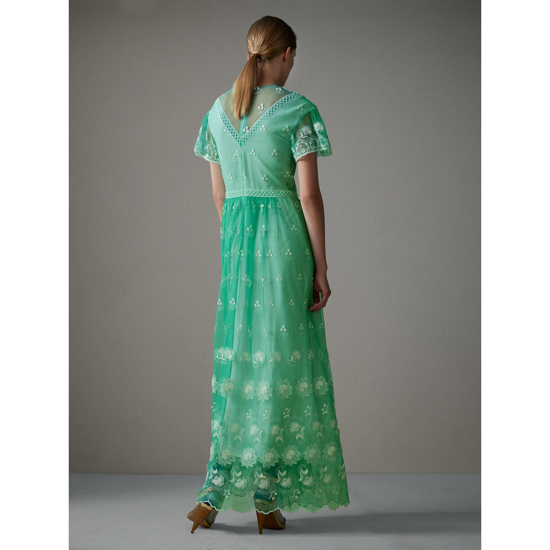 Embroidered Tulle Gathered Dress in Aqua Green/white - Women | Burberry United States - gallery image 2