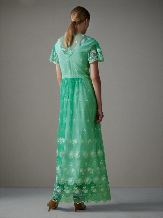 Embroidered Tulle Gathered Dress in Aqua Green/white - Women | Burberry Singapore - cell image 2