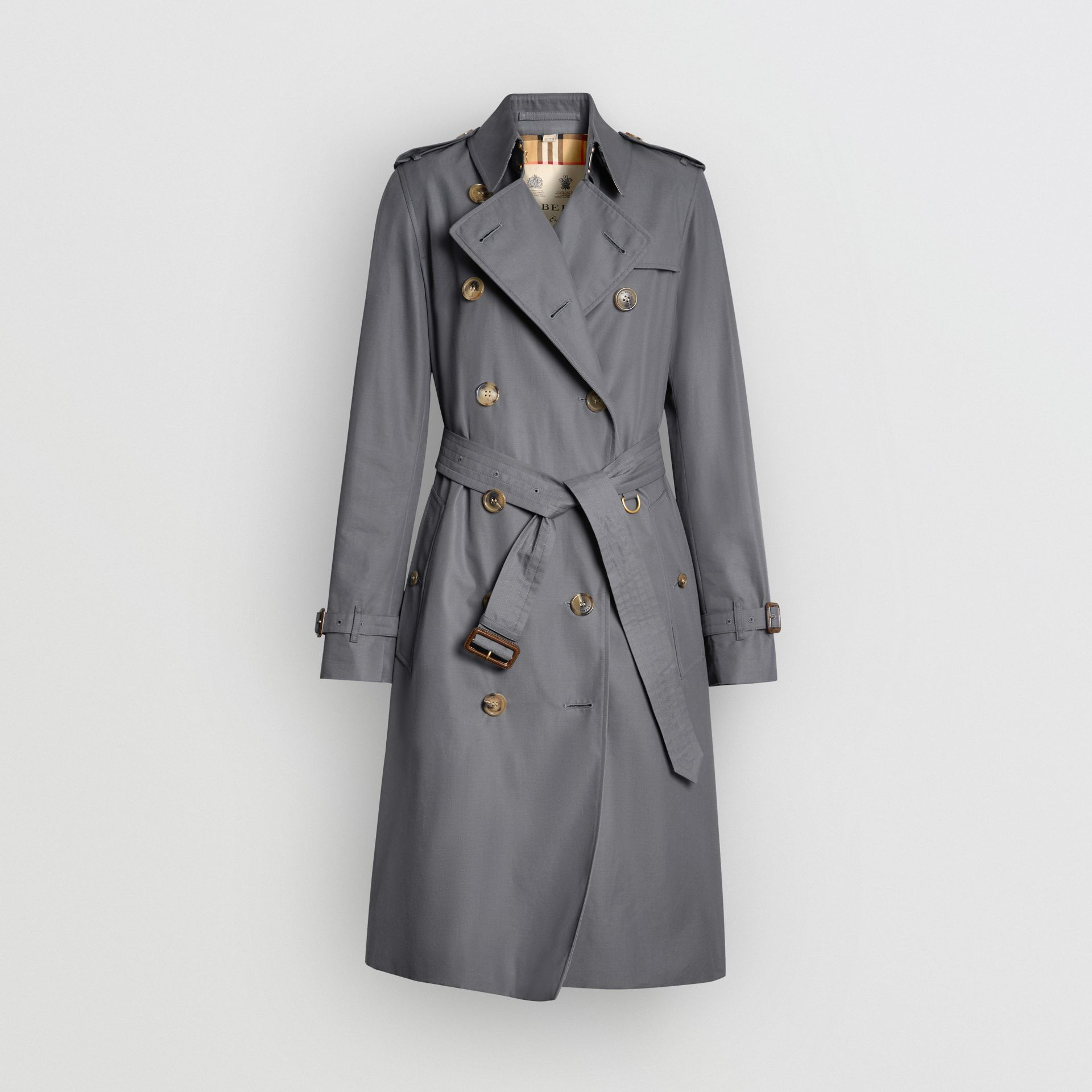 The Long Kensington Heritage Trench Coat in Mid Grey - Women | Burberry United Kingdom - gallery image 3