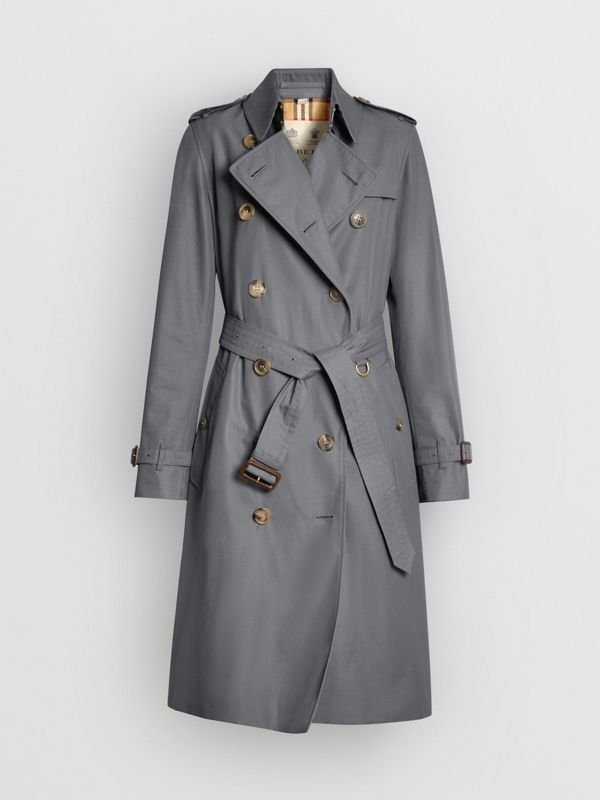 The Long Kensington Heritage Trench Coat in Mid Grey - Women | Burberry United Kingdom - cell image 3