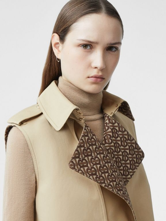Sleeveless Monogram-lined Cotton Trench Coat in Honey - Women | Burberry - cell image 1