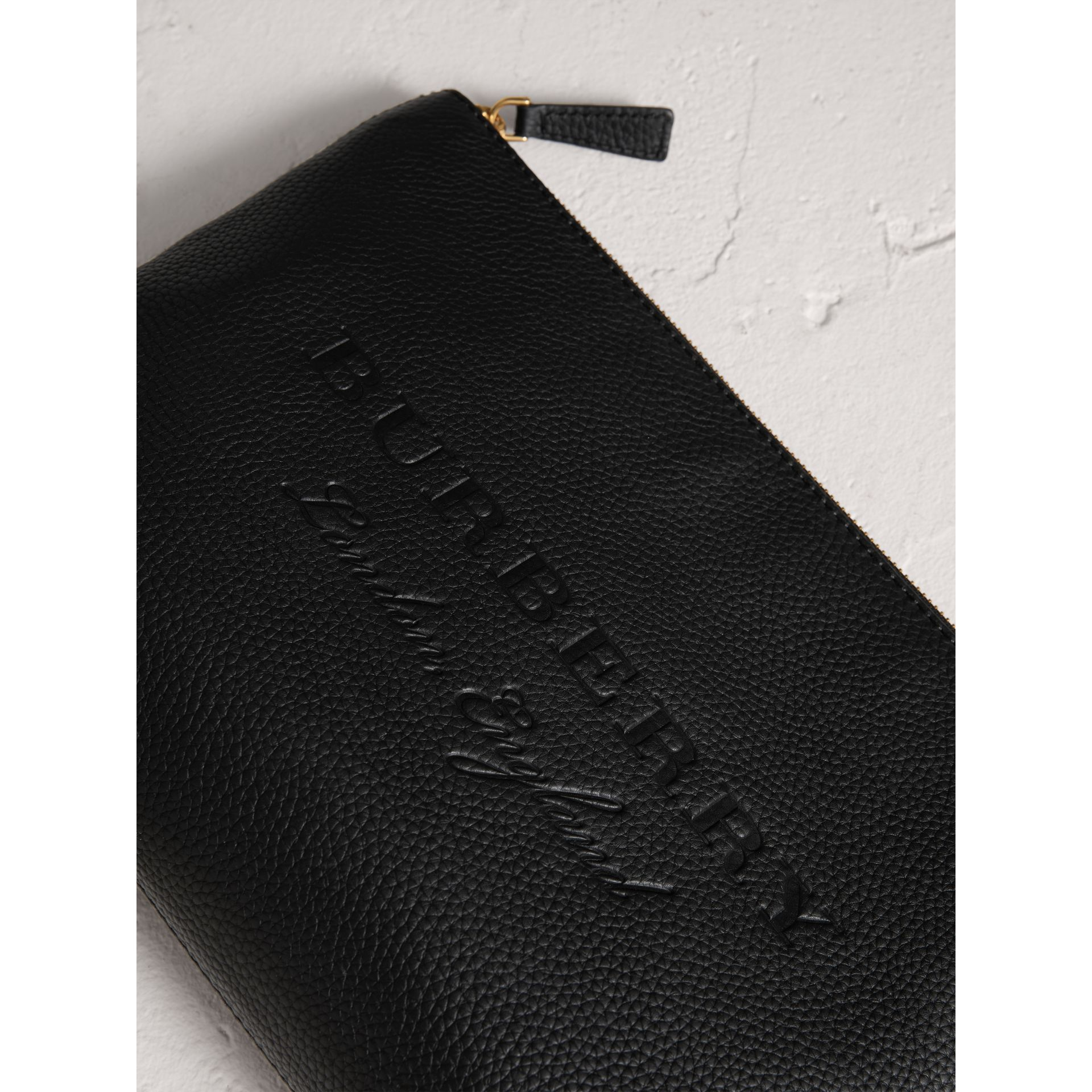 Large Embossed Leather Zip Pouch in Black | Burberry Singapore - gallery image 1