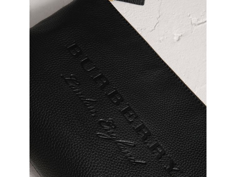 Large Embossed Leather Zip Pouch in Black | Burberry - cell image 1