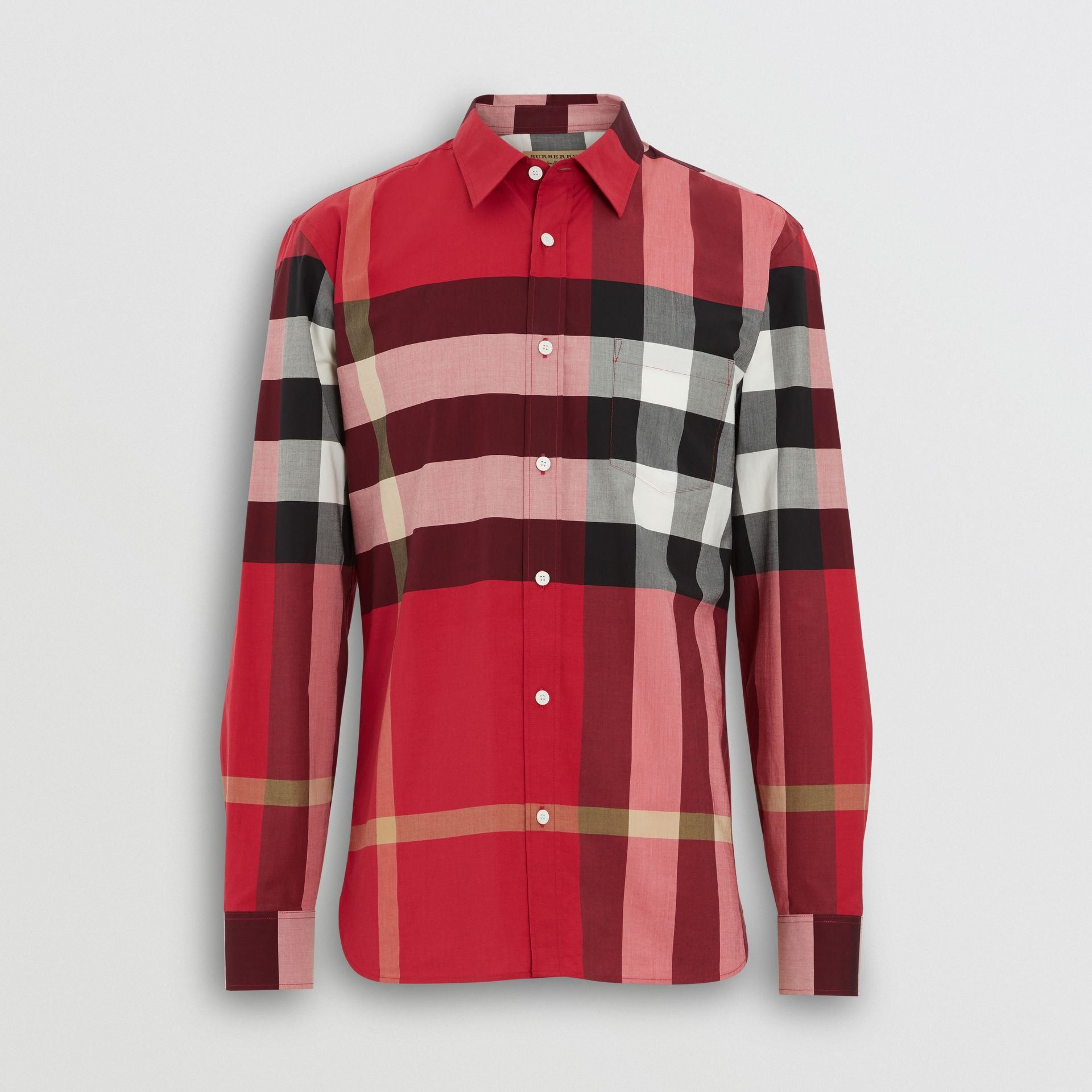 Check Stretch Cotton Shirt in Parade Red - Men | Burberry United Kingdom - gallery image 3
