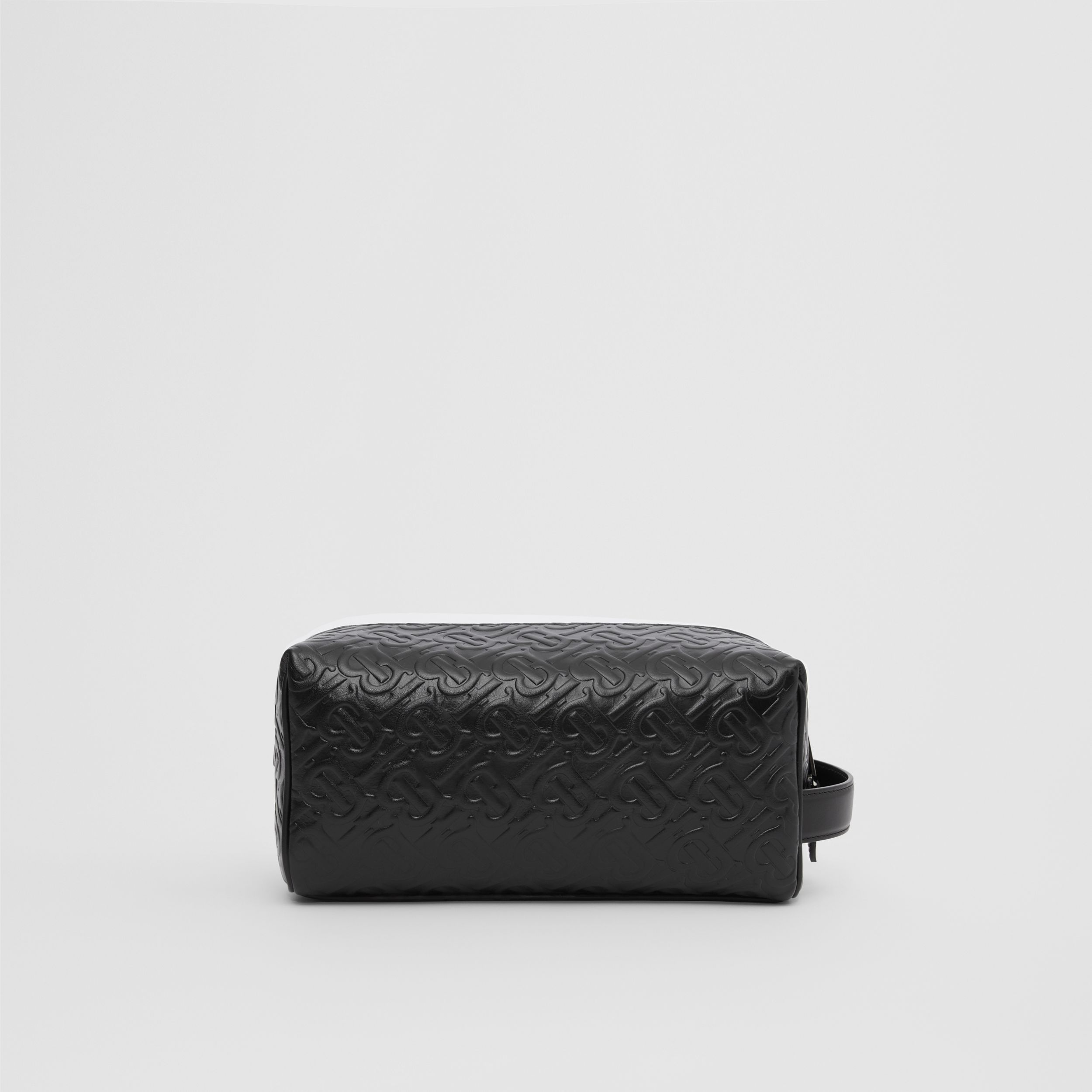 Monogram Leather Travel Pouch in Black - Men | Burberry United Kingdom - 1