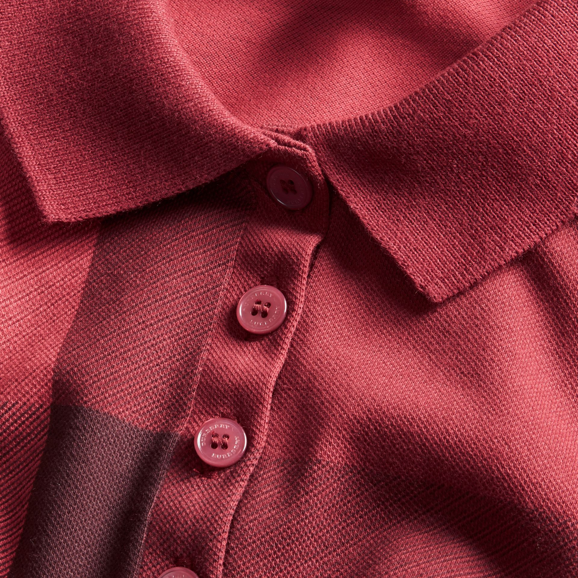 Check Stretch Cotton Piqué Polo Shirt in Peony Rose - gallery image 2