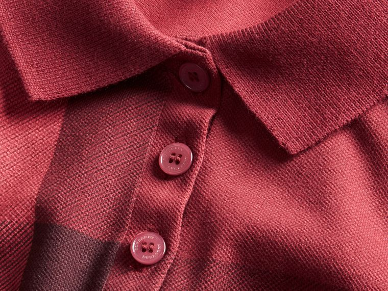 Check Stretch Cotton Piqué Polo Shirt in Peony Rose - cell image 1