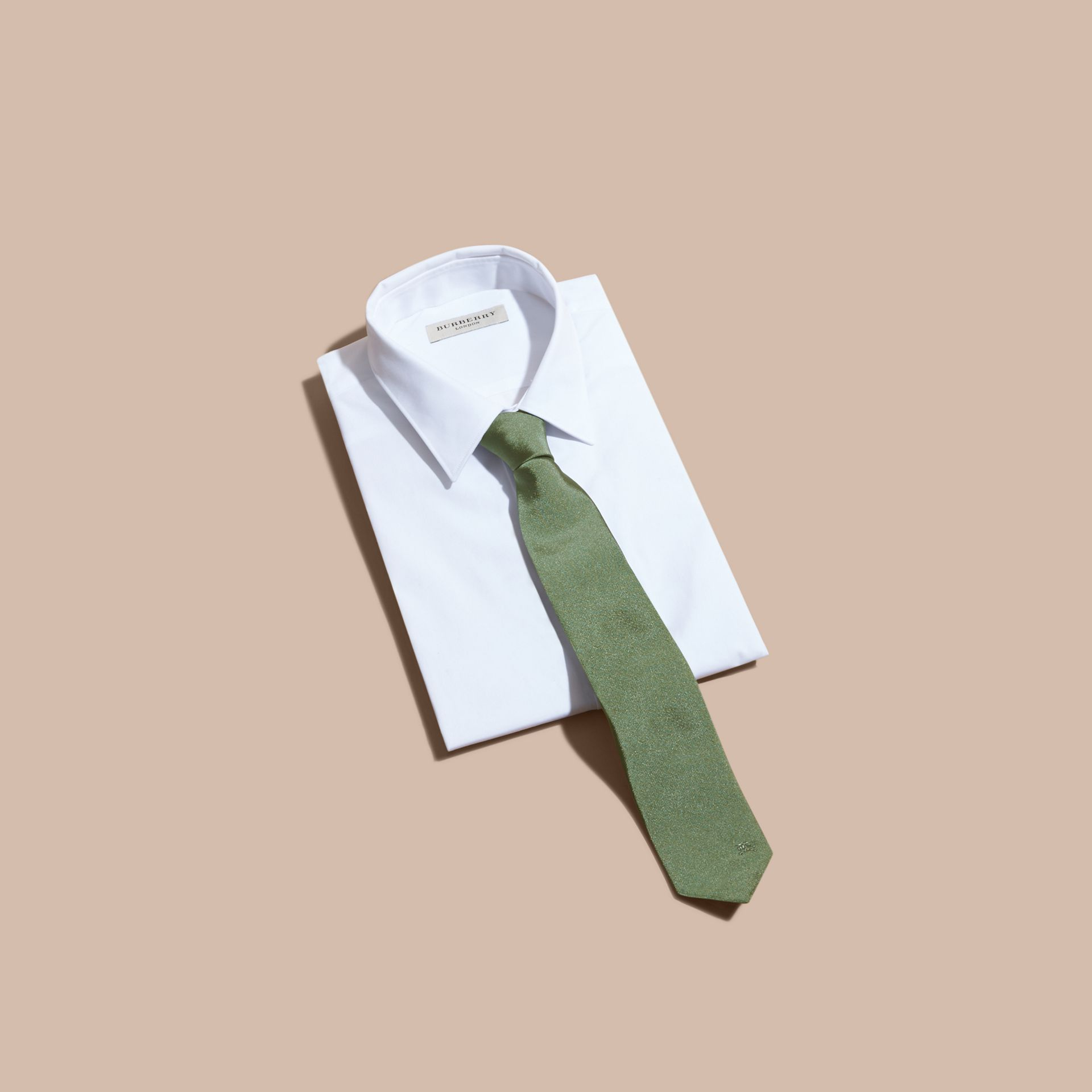 Modern Cut Silk Twill Tie in Eucalyptus Green - Men | Burberry - gallery image 4