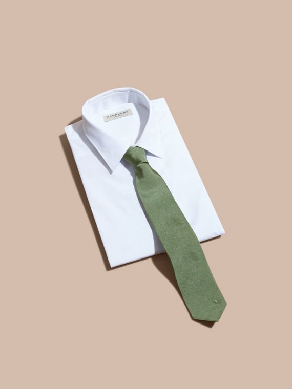 Modern Cut Silk Twill Tie in Eucalyptus Green - Men | Burberry Singapore - cell image 3