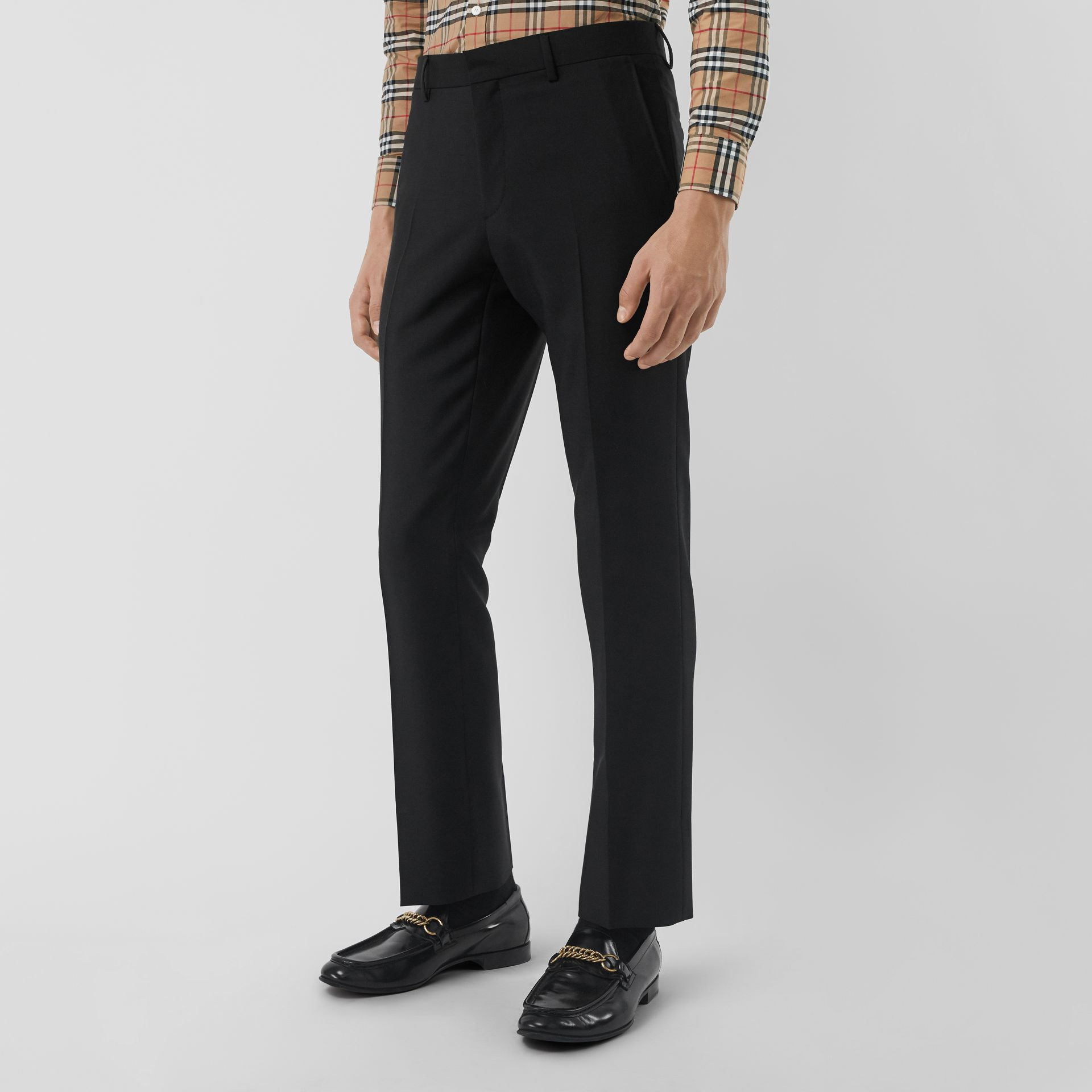 Classic Fit Wool Mohair Tailored Trousers in Black - Men | Burberry - gallery image 4