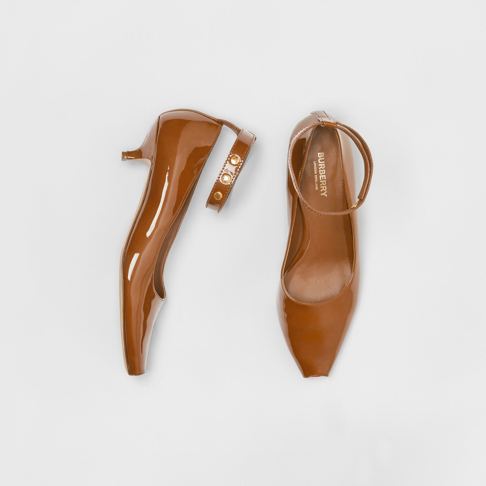 Patent Leather Peep-toe Kitten-heel Pumps in Tan - Women | Burberry United States - gallery image 0