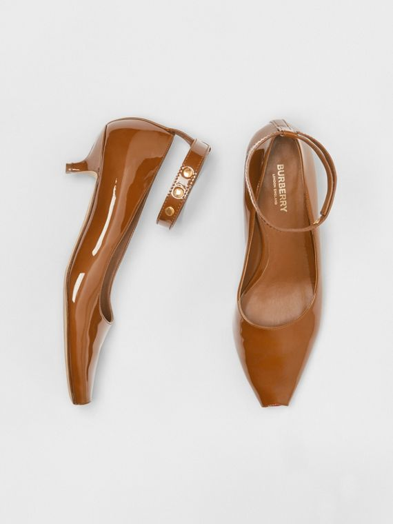 Patent Leather Peep-toe Kitten-heel Pumps in Tan