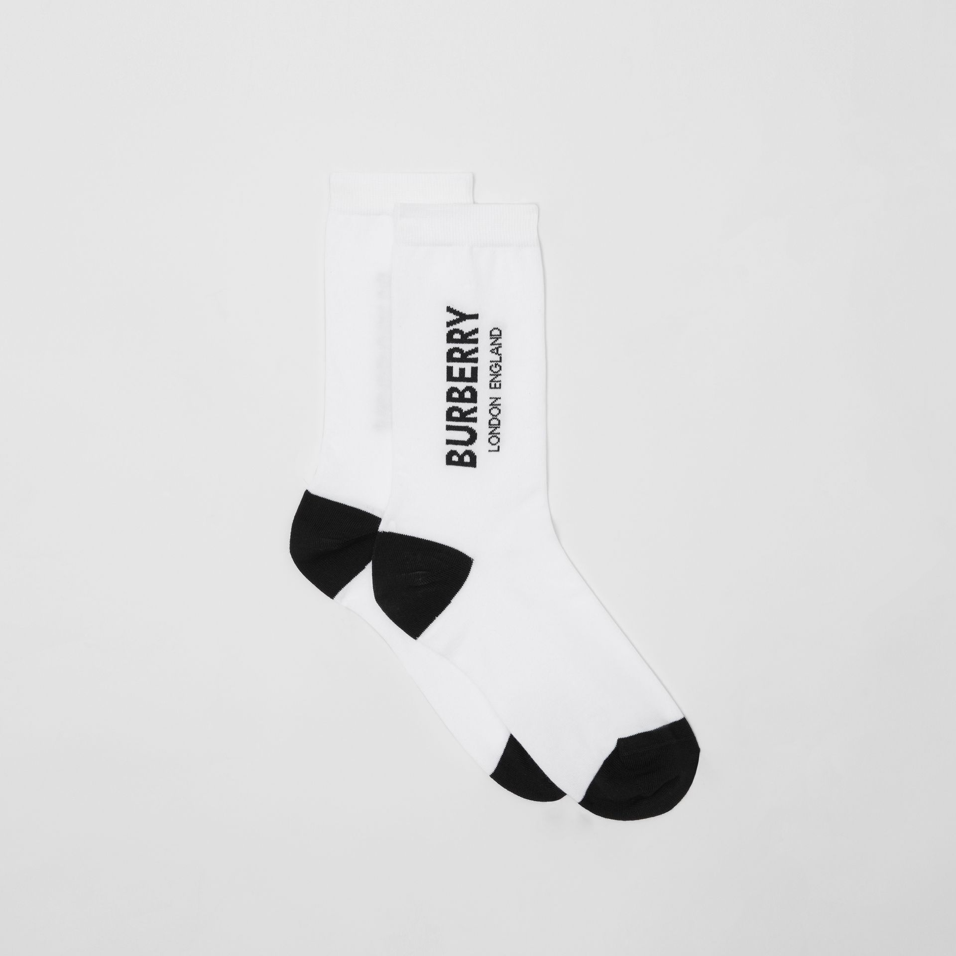 Logo Intarsia Cotton Blend Socks in White | Burberry - gallery image 2