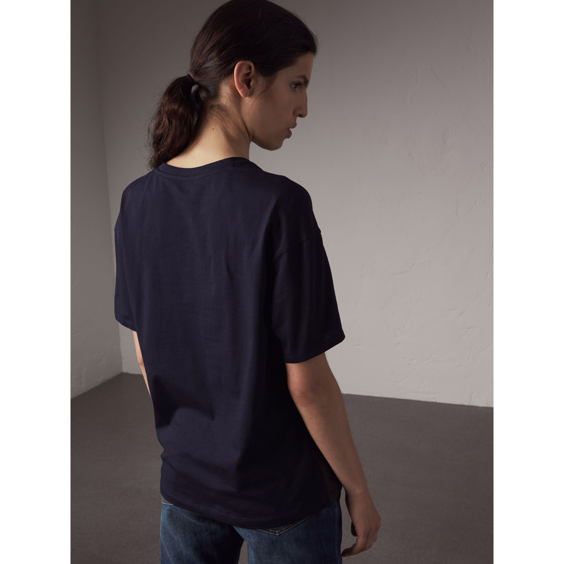 Beasts Print Silk Panel Cotton T-shirt in True Navy - Women | Burberry - gallery image 3