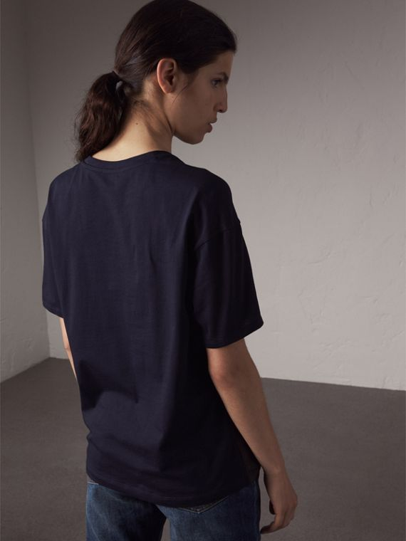 Beasts Print Silk Panel Cotton T-shirt in True Navy - Women | Burberry - cell image 2