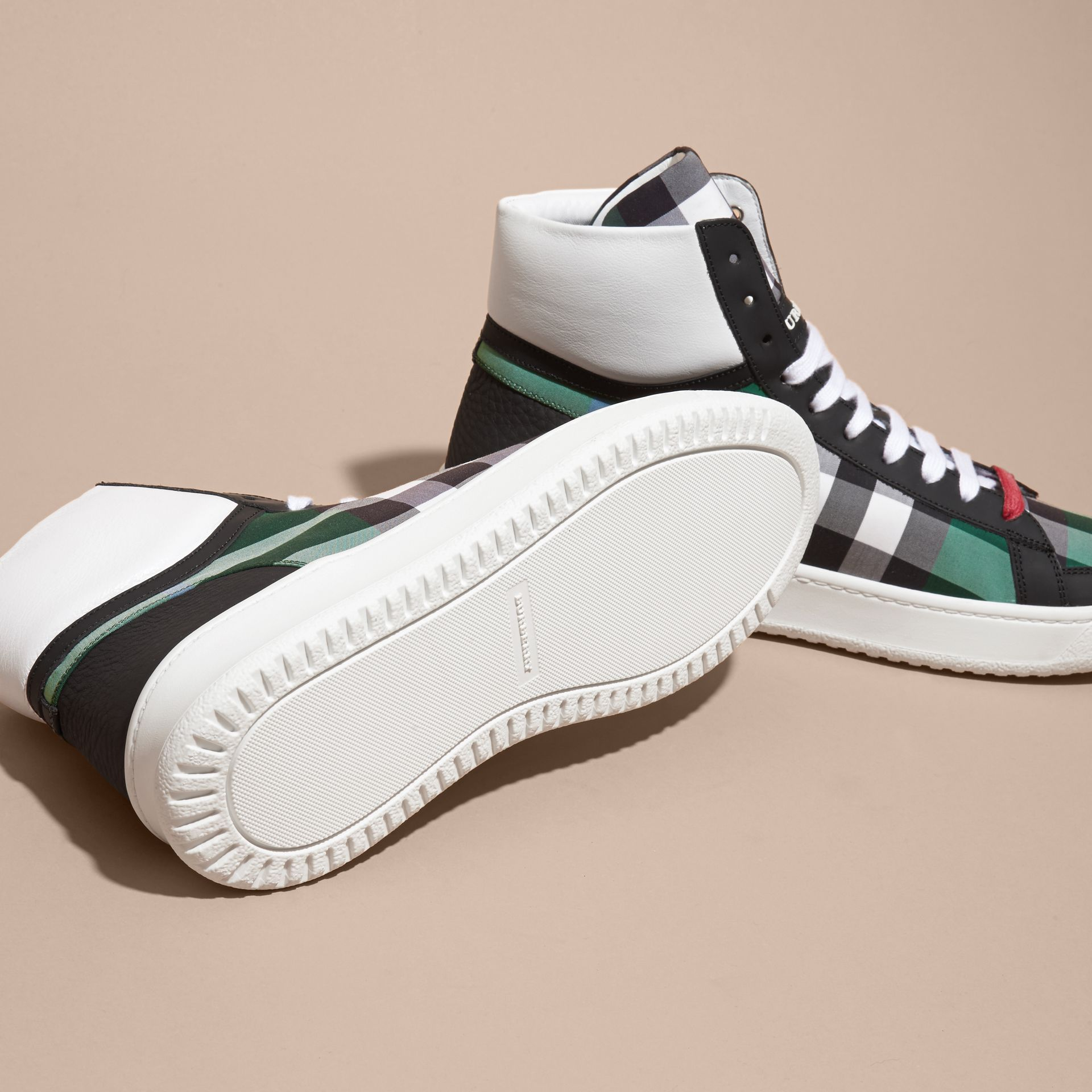 Leather and Check High-top Trainers Dark Pigment Green - gallery image 5