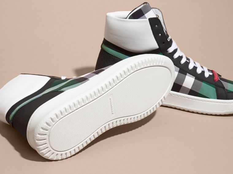Dark pigment green Leather and Check High-top Trainers Dark Pigment Green - cell image 4