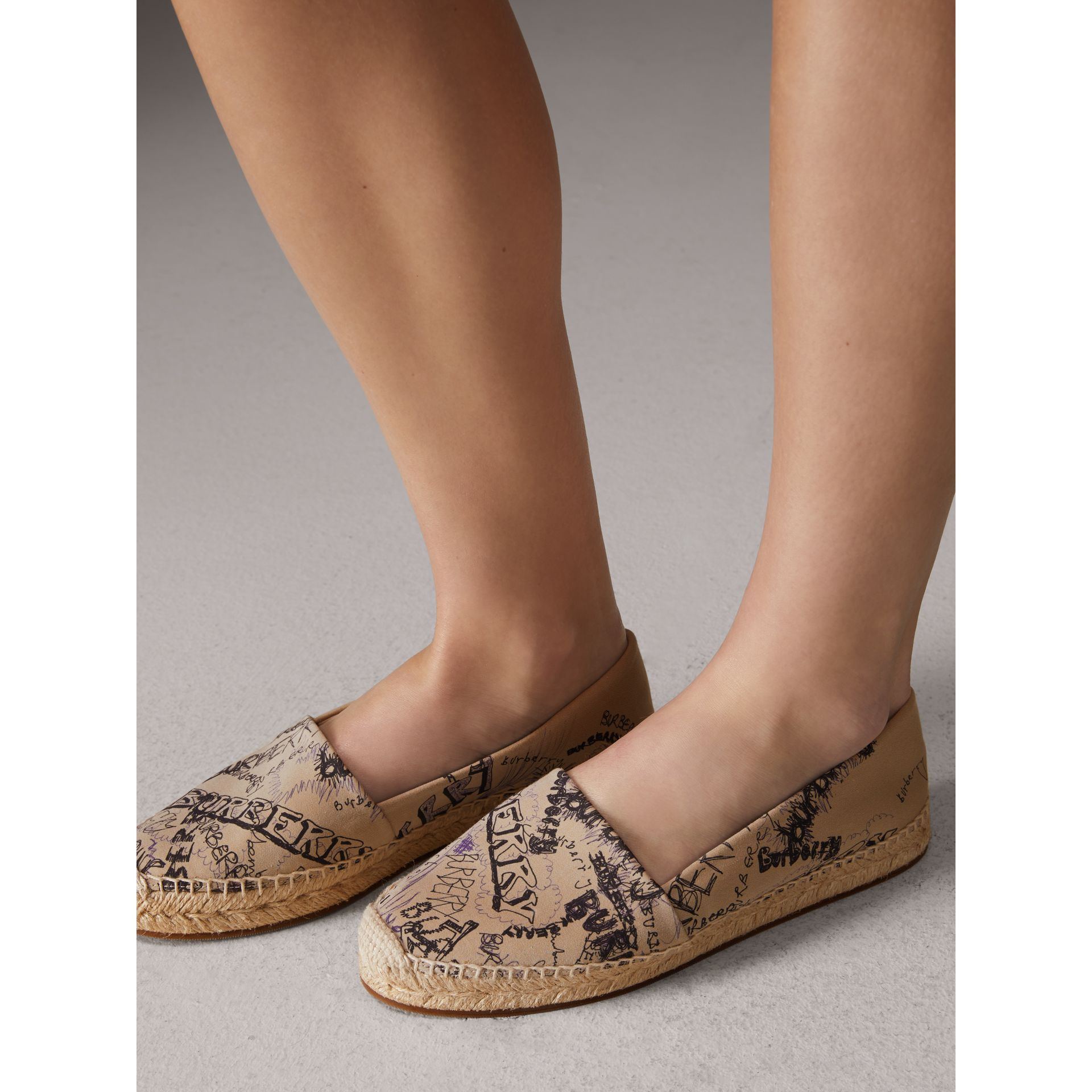 Doodle Print Cotton Gabardine Espadrilles in Honey - Women | Burberry - gallery image 2