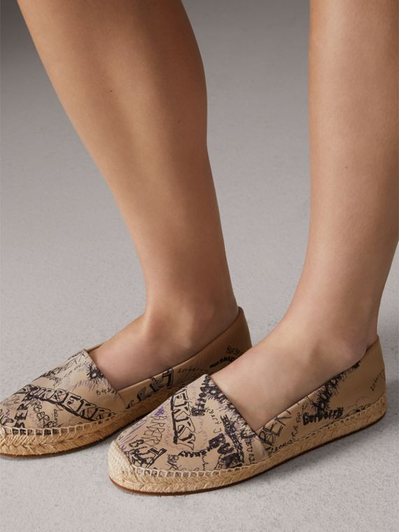 Doodle Print Cotton Gabardine Espadrilles in Honey - Women | Burberry - cell image 2