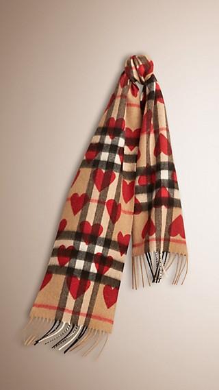 Cachecol clássico de cashmere com padrão xadrez e estampa de corações