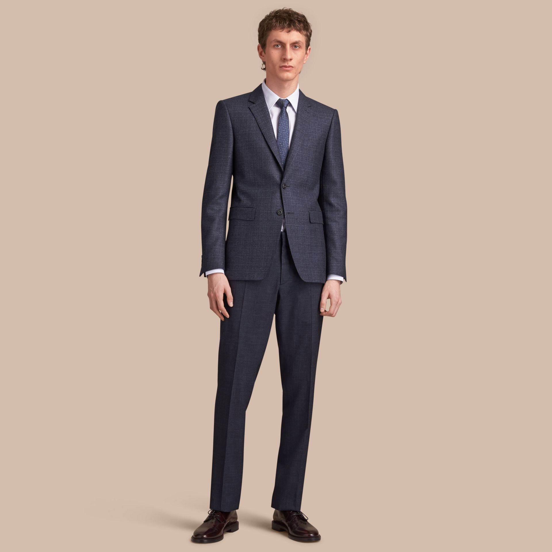 Slim Fit Lightweight Wool Part-canvas Suit in Bright Navy - Men | Burberry - gallery image 1