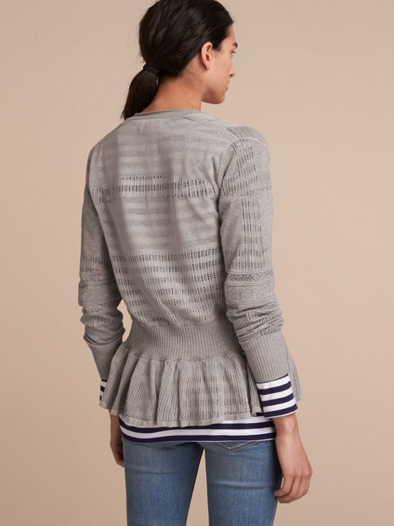 Multi-stitch Linen Silk Open Cardigan - Women | Burberry Australia - cell image 2
