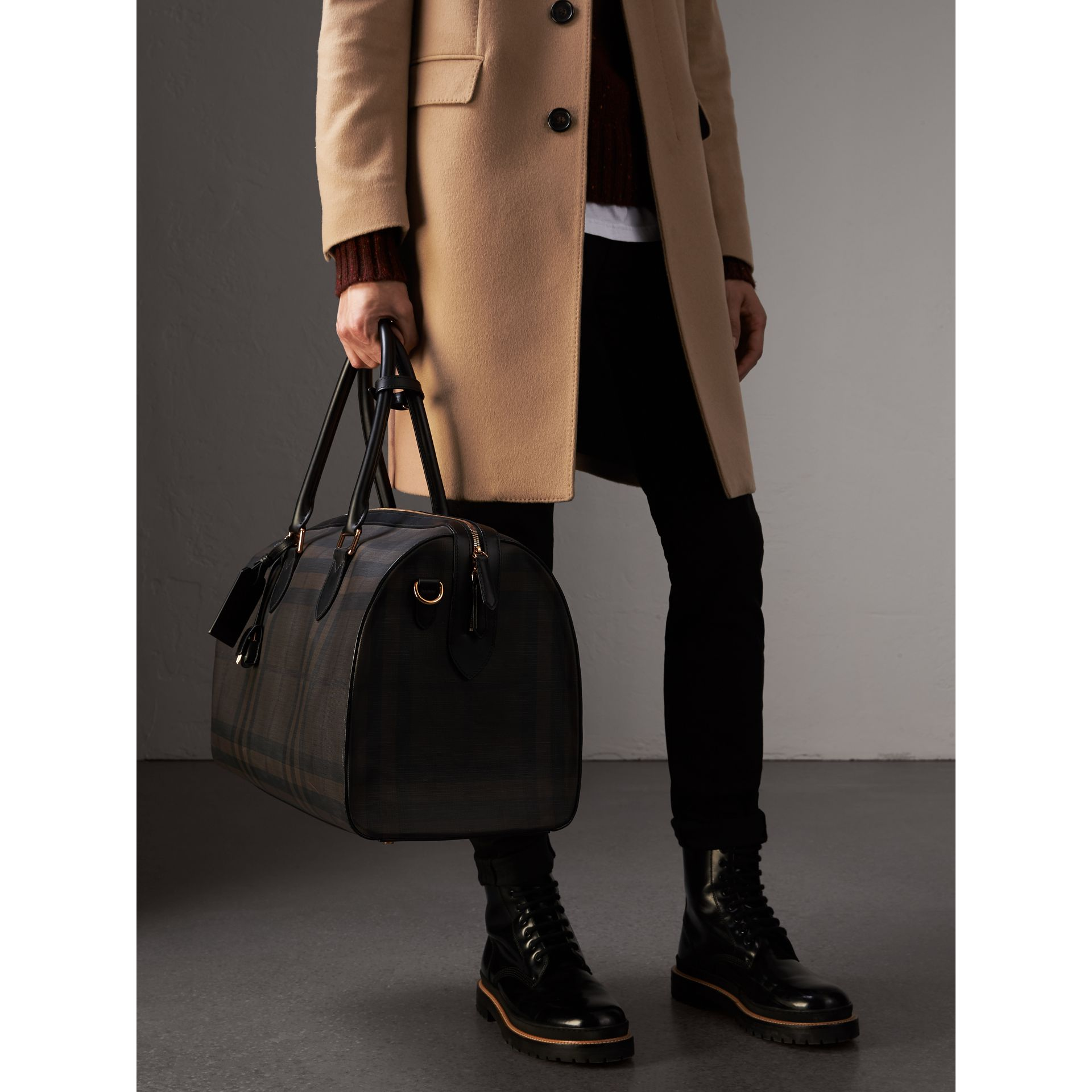 Leather Trim London Check Holdall in Chocolate/black - Men | Burberry - gallery image 3