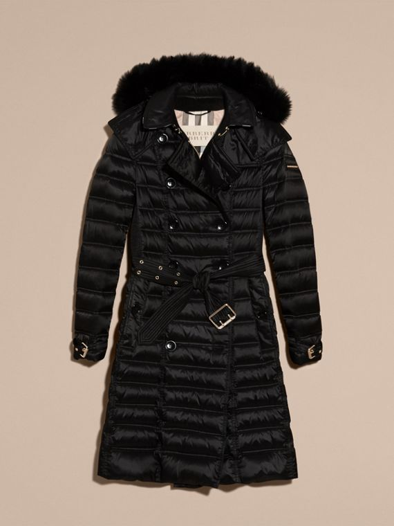 Black Down-Filled Puffer Coat with Fur Trim Black - cell image 3