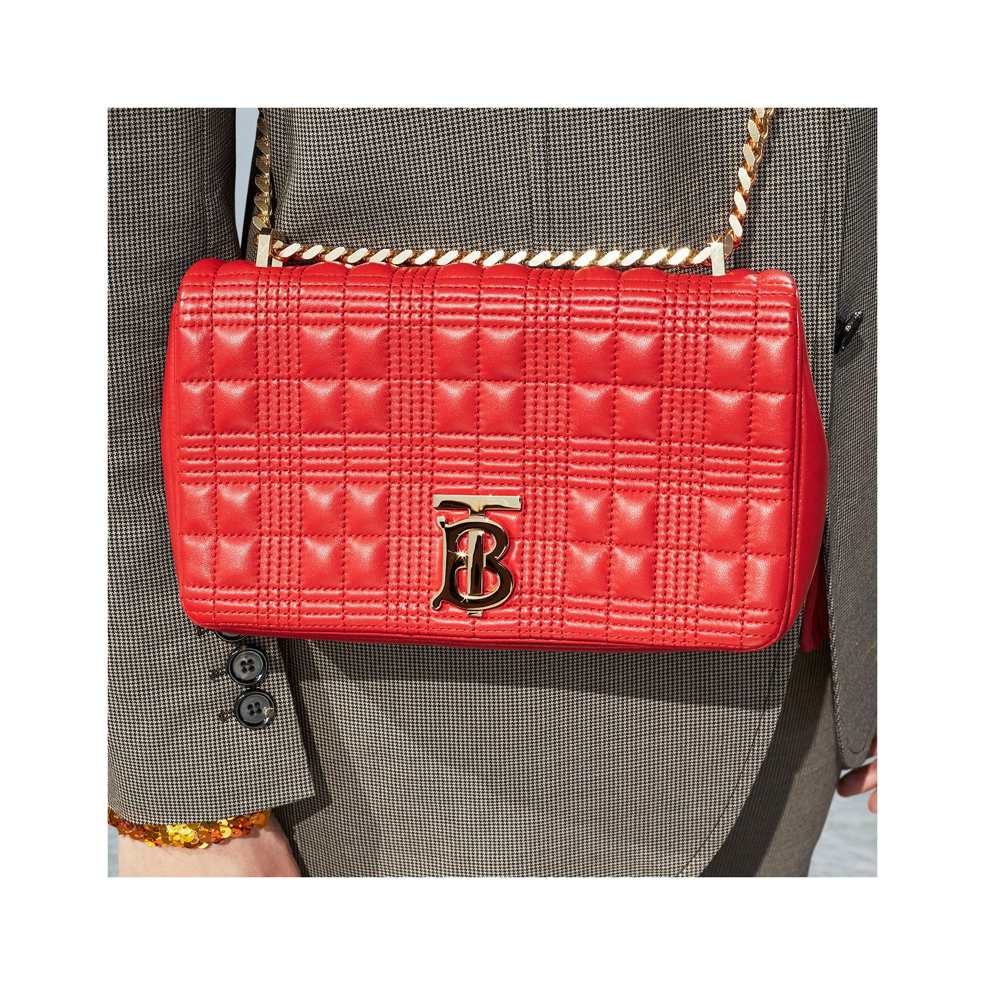 Small Quilted Check Lambskin Lola Bag in Bright Red - Women | Burberry - gallery image 1