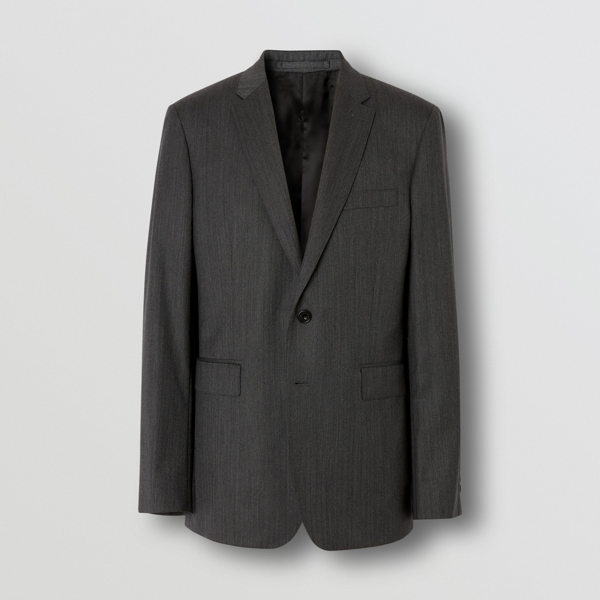 Slim Fit Herringbone Wool Suit in Mid Grey - Men | Burberry - 4