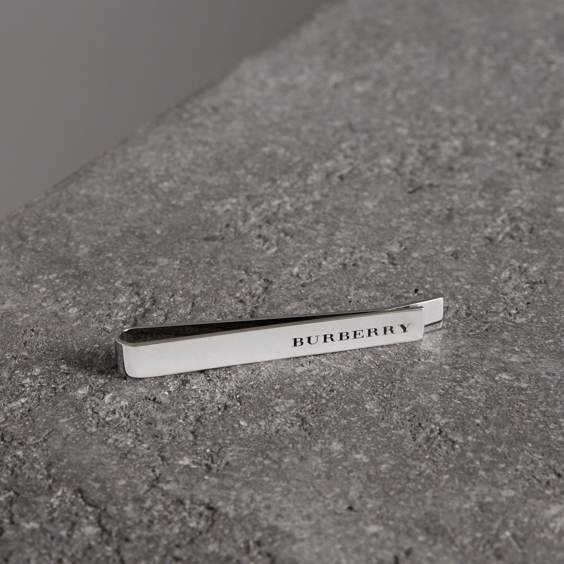 Engraved Bronze Tie Bar in Silver - Men | Burberry - gallery image 0