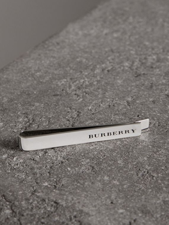 Engraved Bronze Tie Bar in Silver