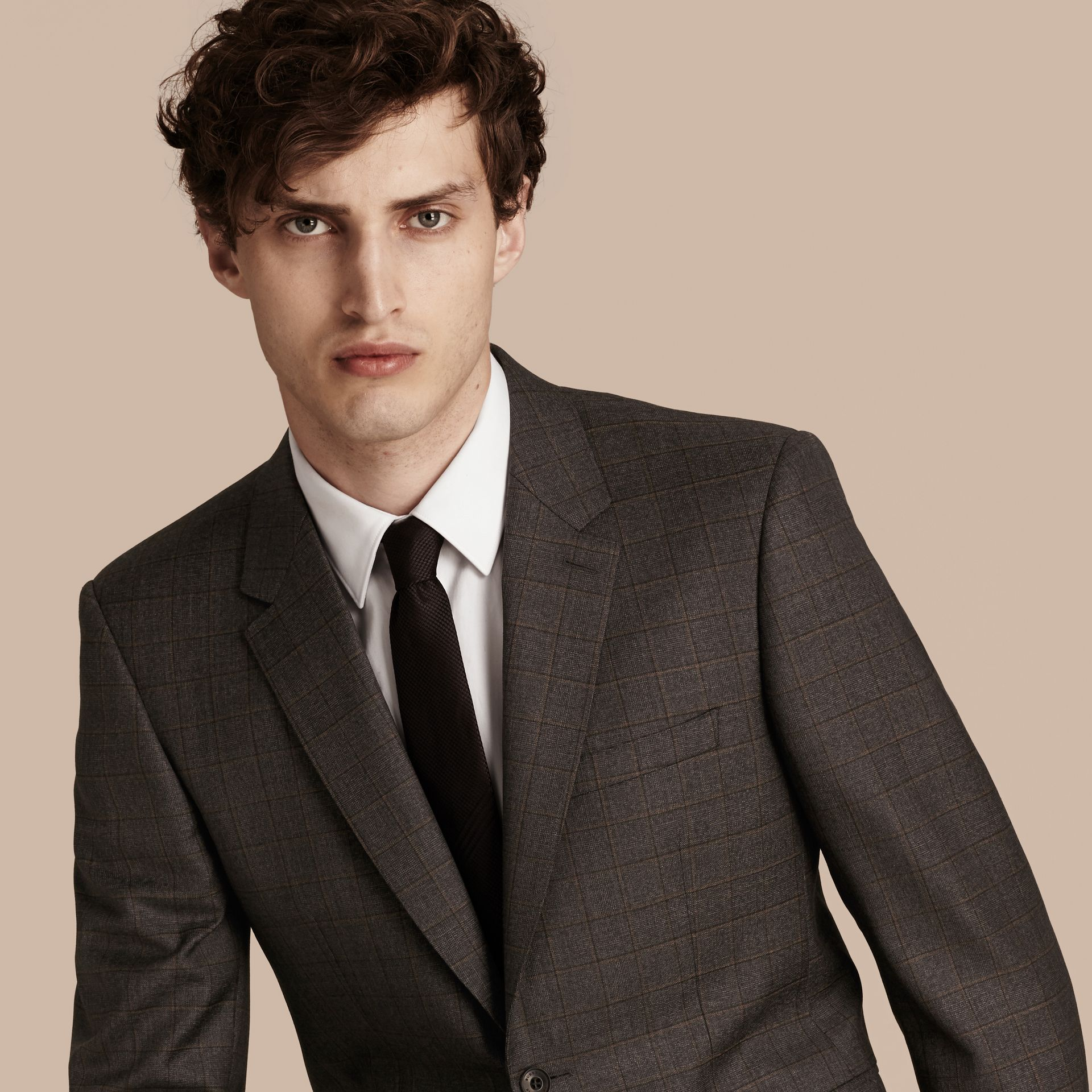Dark grey melange Modern Fit Check Wool Part-canvas Suit - gallery image 5
