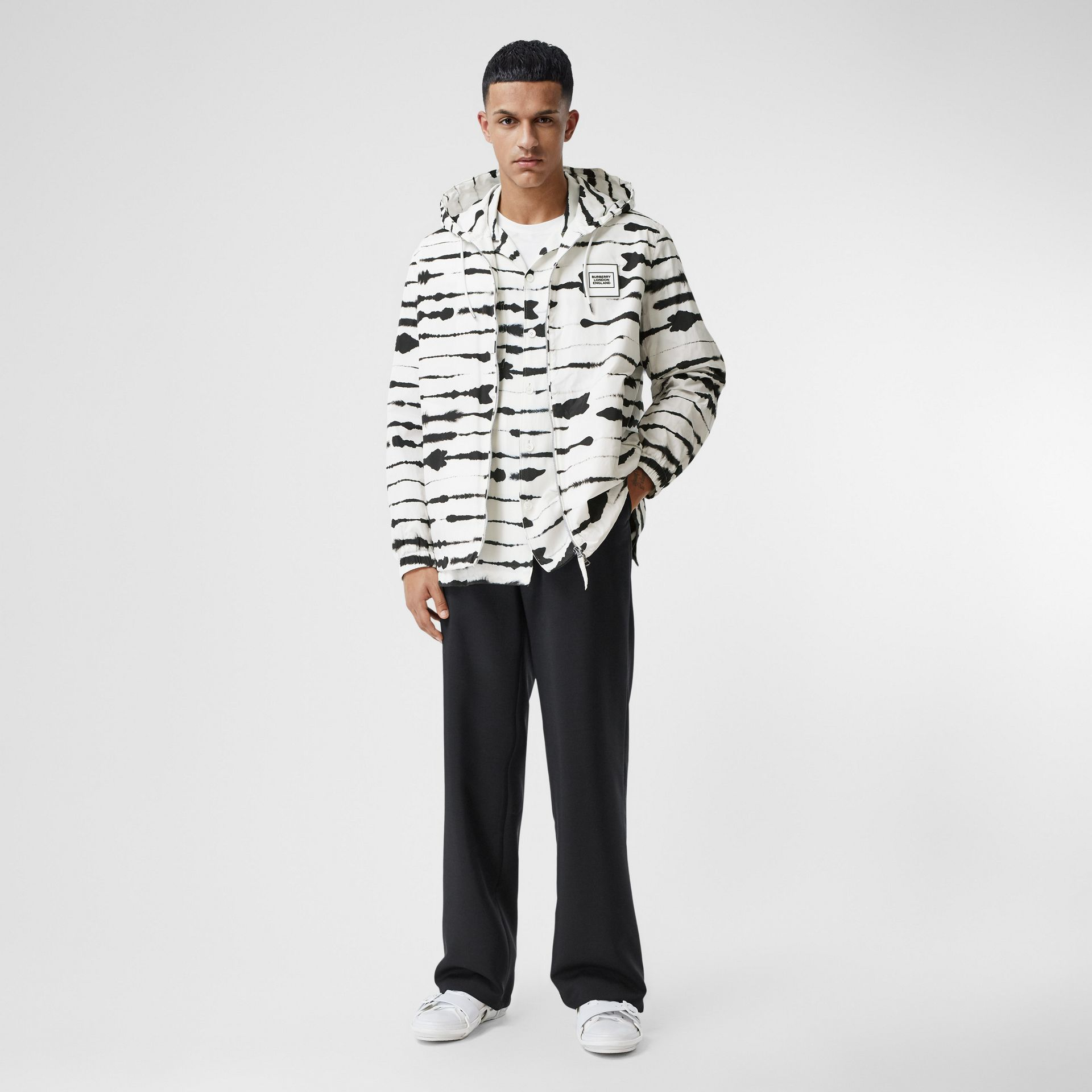 Logo Appliqué Watercolour Print Hooded Jacket in Monochrome - Men | Burberry - gallery image 5