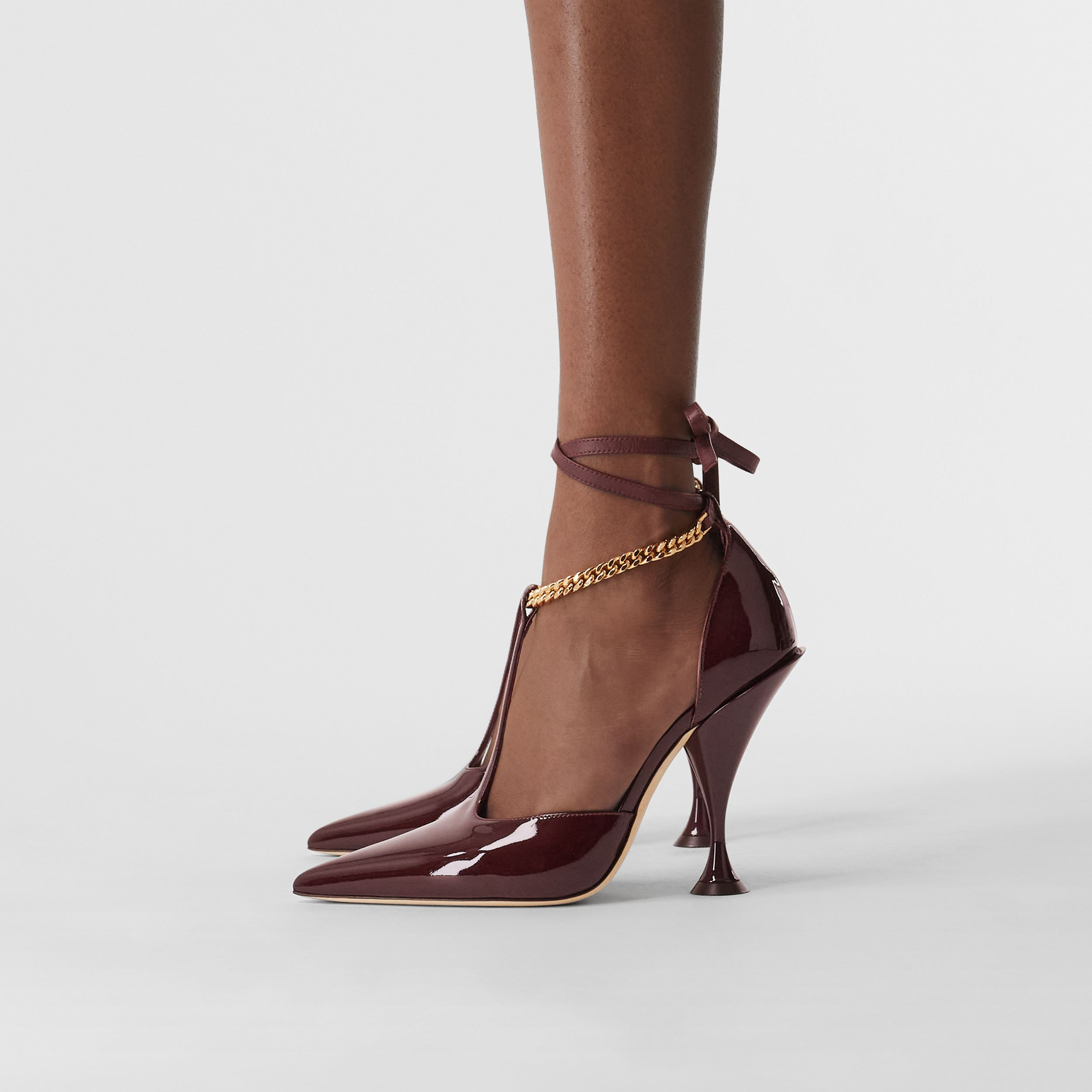 Chain Detail Patent Leather Pumps in Oxblood - Women | Burberry - 3
