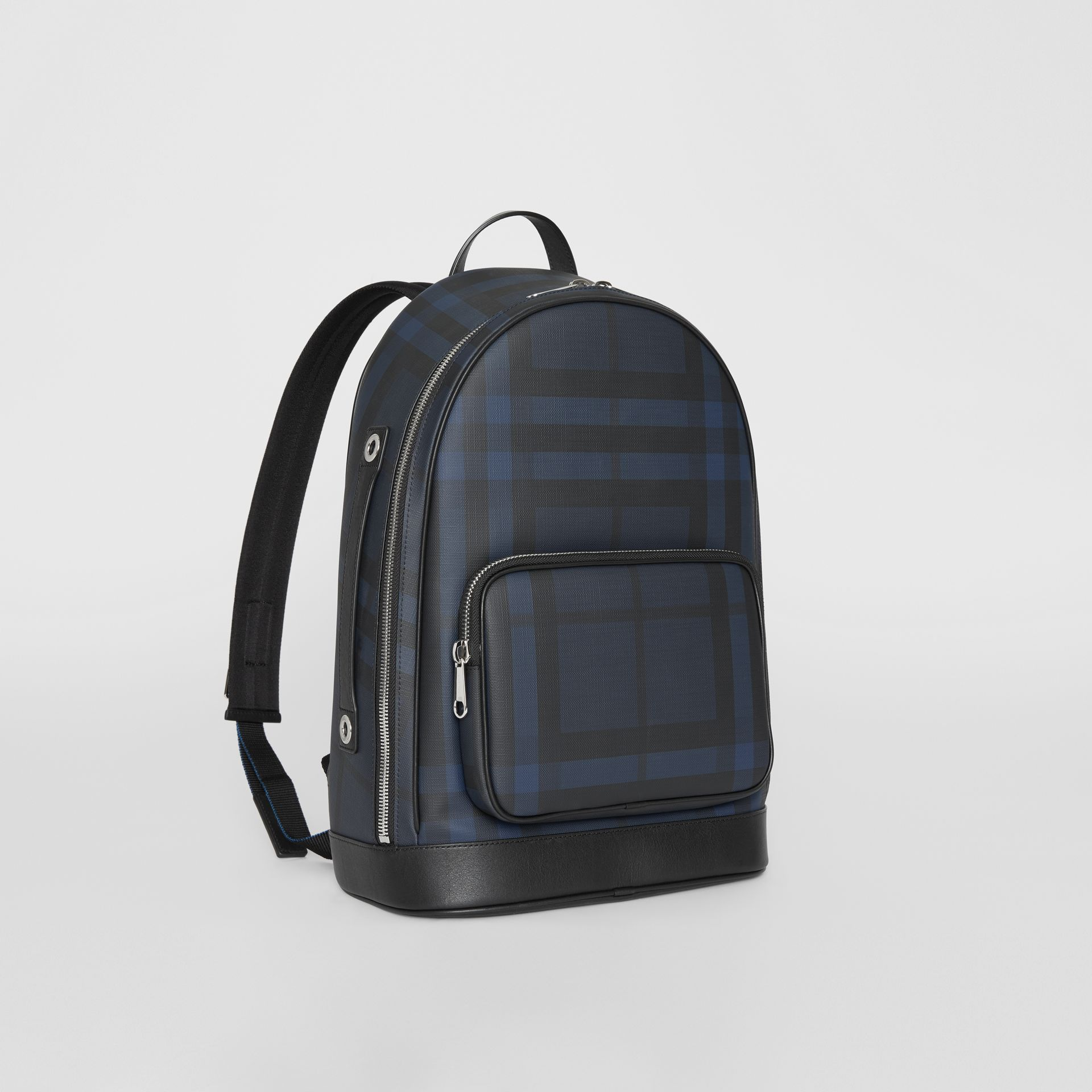 London Check and Leather Backpack in Navy/black - Men | Burberry Singapore - gallery image 6