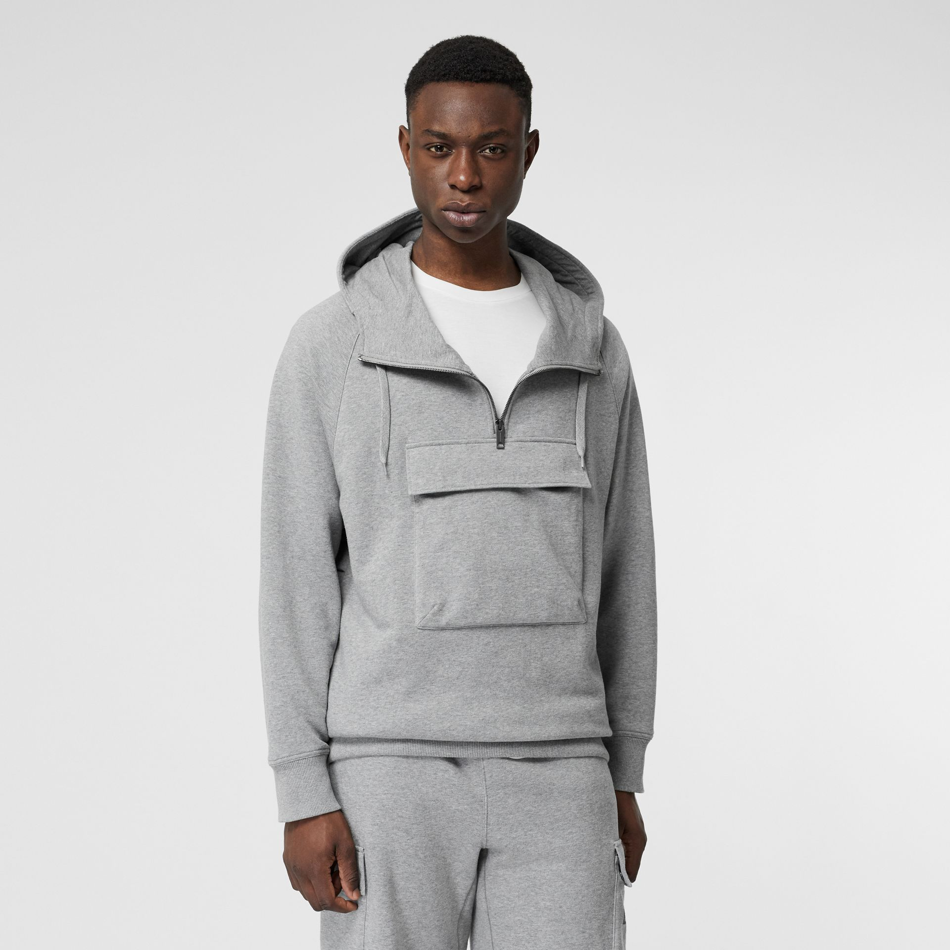 Horseferry Print Cotton Hoodie in Pale Grey Melange - Men | Burberry - gallery image 5