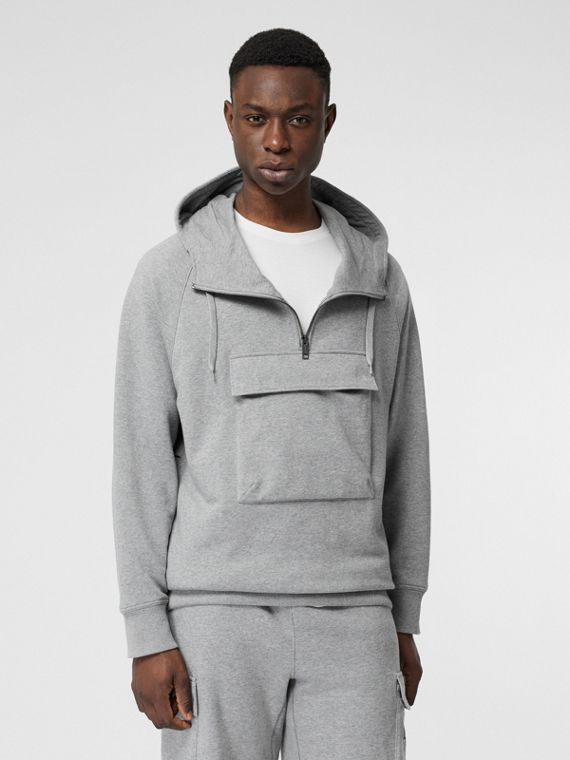 Horseferry Print Cotton Hoodie in Pale Grey Melange