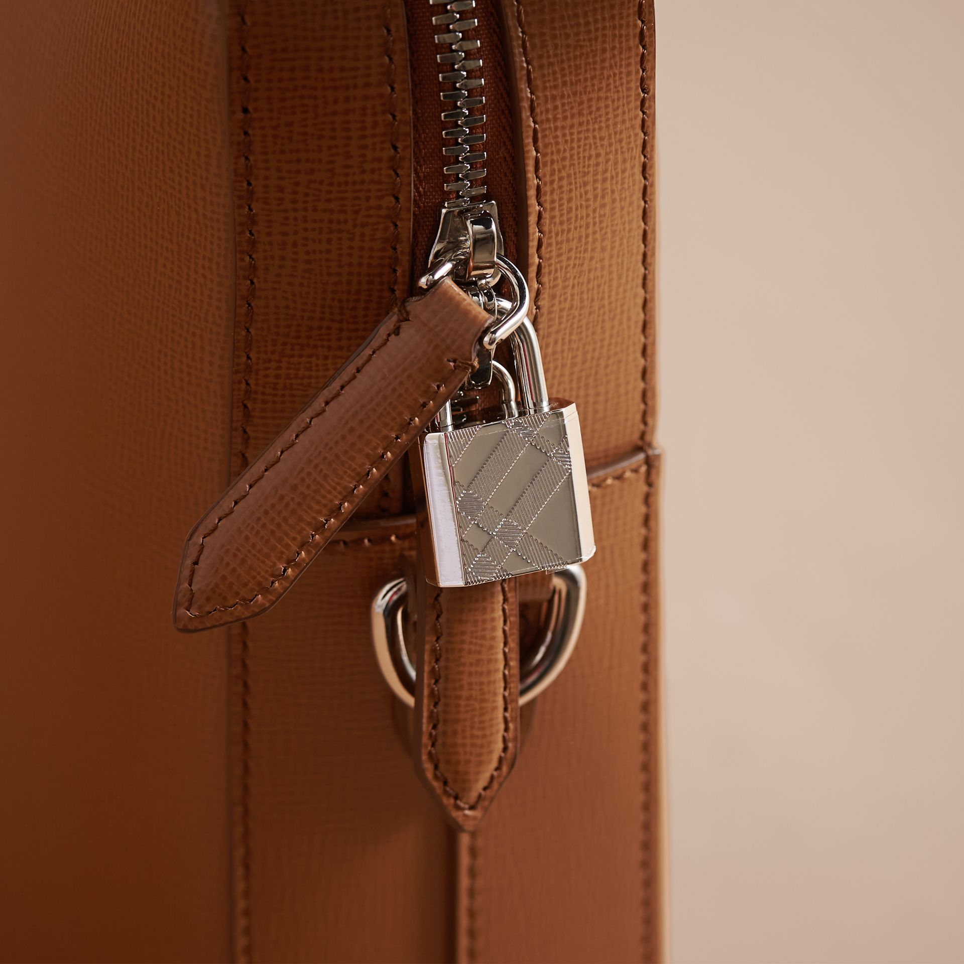 London Leather Briefcase in Tan/chocolate - Men | Burberry United Kingdom - gallery image 2