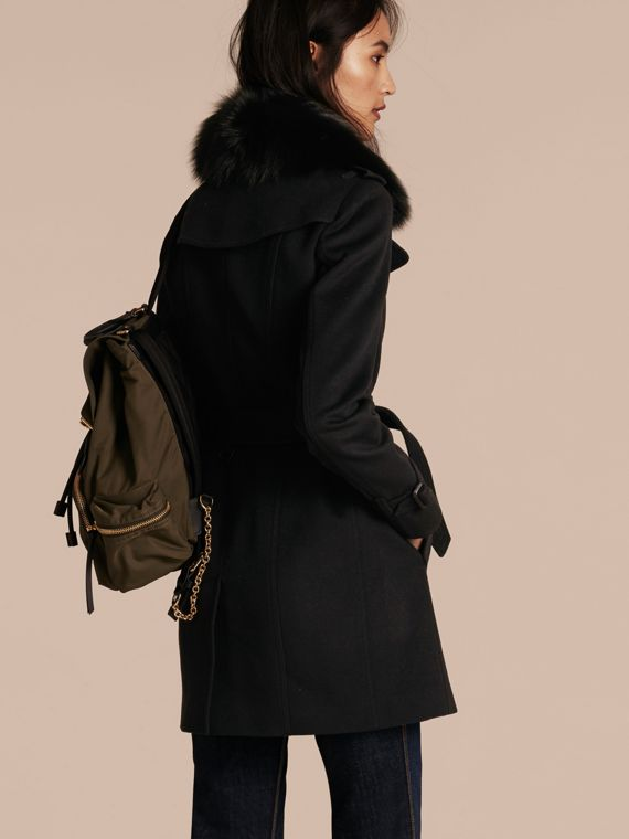 Black Fox Fur Collar Wool Cashmere Trench Coat Black - cell image 2