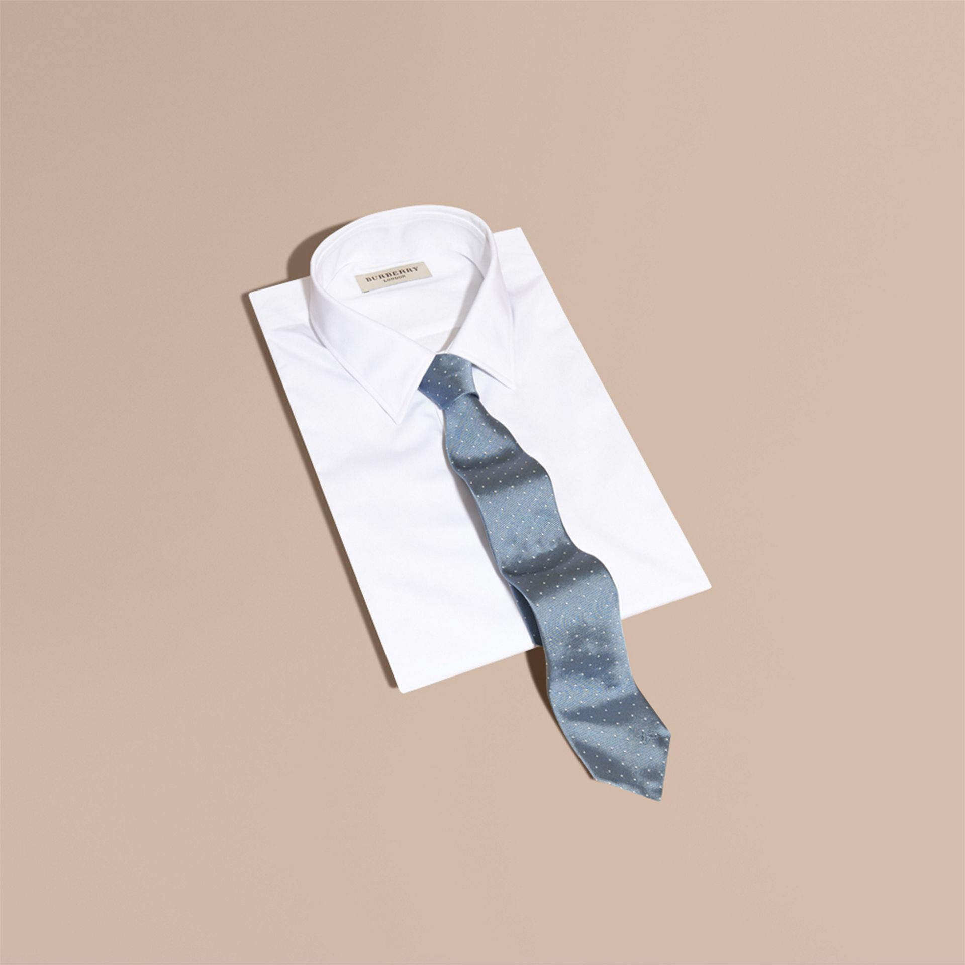 Modern Cut Polka Dot Silk Tie Light Blue - gallery image 4