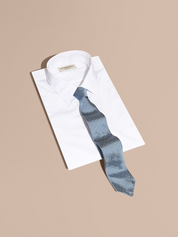 Modern Cut Polka Dot Silk Tie in Light Blue - cell image 3