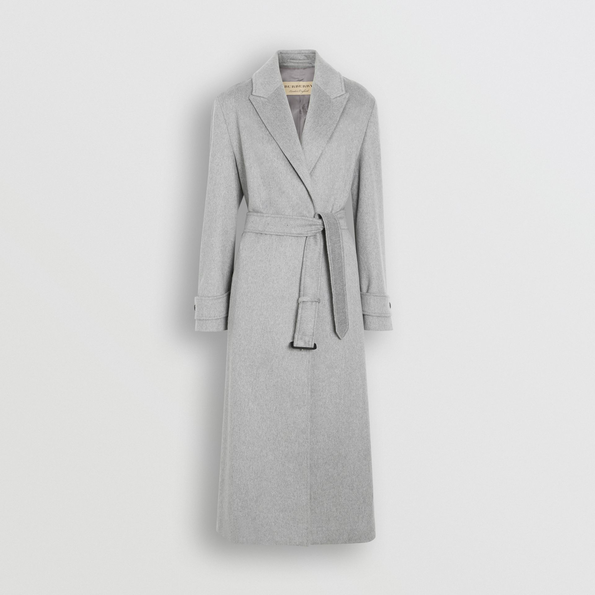 Peak Lapel Cashmere Wrap Coat in Pale Grey Melange - Women | Burberry - gallery image 3