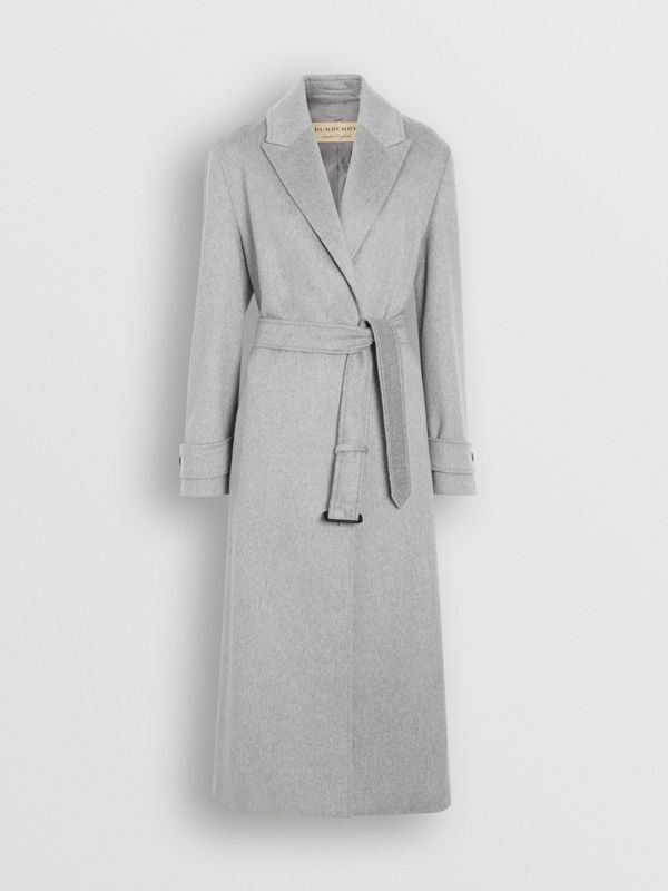 Peak Lapel Cashmere Wrap Coat in Pale Grey Melange - Women | Burberry - cell image 3