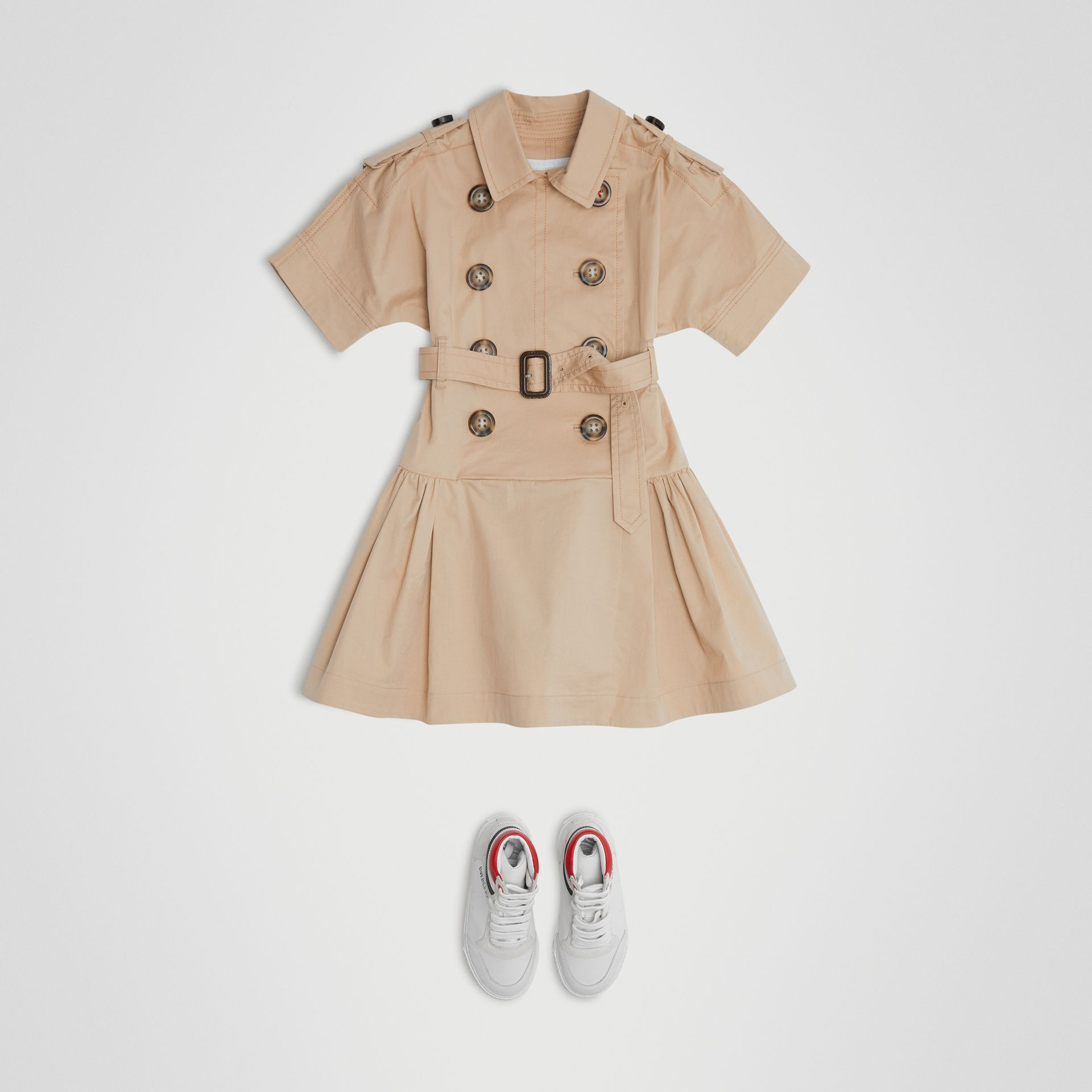 Robe trench en coton extensible (Miel) | Burberry - photo de la galerie 2